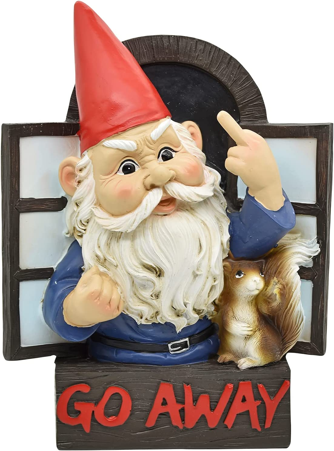 Whimsical Grumpy Gnome Statue Go Away Rude Garden Gnome and Squirrel at The Window Flipping Off Guests Wall Hanging Plaque Decor Funny Naughty Finger Gnome Figurine - 8