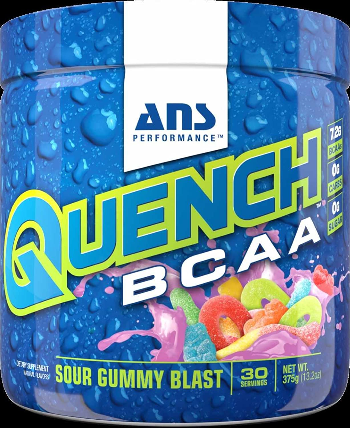 ANS Performance Quench BCAA, Branched Chain Amino Acid Recovery Drink, Sour Gummy Blast, 375g