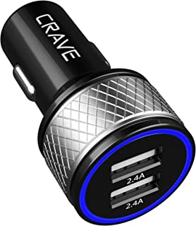 Crave DualHub 24W 4.8A 2 Port Dual USB Universal Car Charger, Smart Charge IC Technology - Black