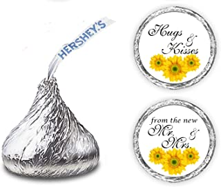 324 Sunflower Hugs and Kisses from The New Mr. & Mrs. Hershey Kiss Wedding Stickers, Floral Chocolate Drops Labels Stickers for Weddings, Bridal Shower Engagement Party, Hershey's Kisses Party Favors
