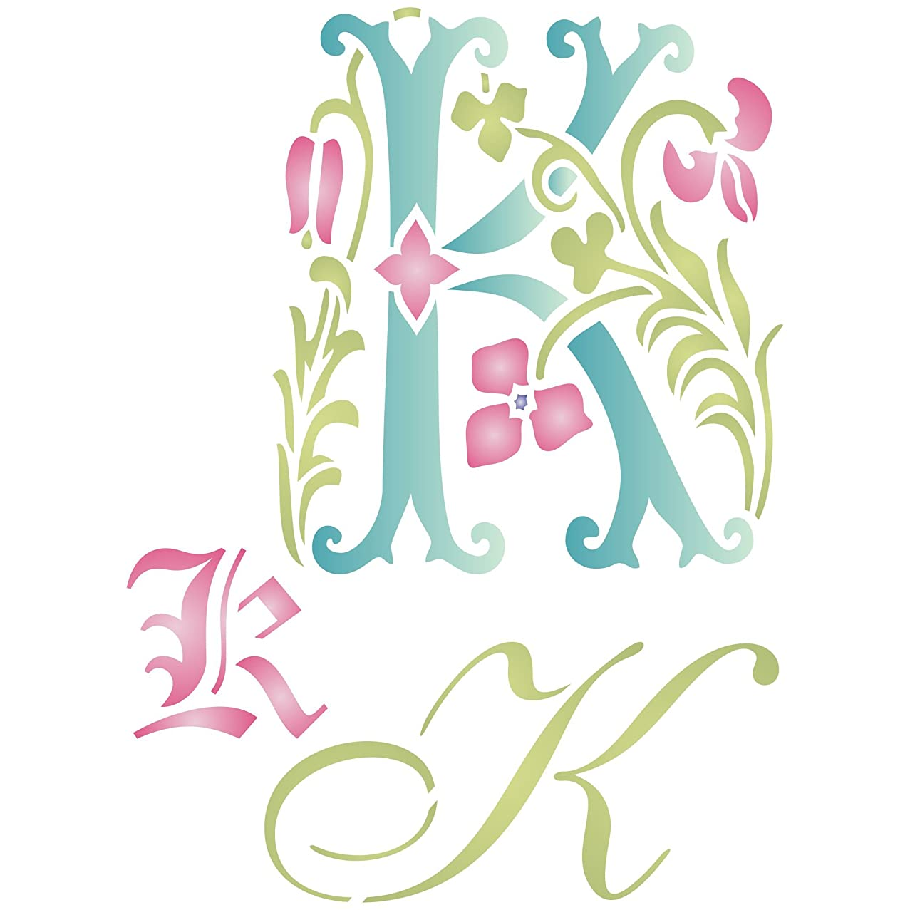 """Initial K Stencil (size 6.5""""w x 8.8""""h) Reusable Stencils for Painting - Best Quality Letter Wall Art Décor Ideas - Use on Walls, Floors, Fabrics, Glass, Wood, Cards, and More…"""