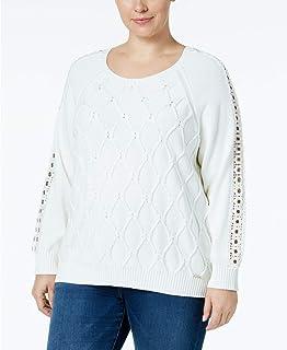 Tommy Hilfiger Women's Plus Size Cable-Knit Grommet-Trim Sweater