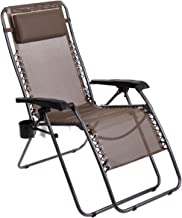 Timber Ridge Zero Gravity Chair Locking Lounge Oversize Recliner for Outdoor Beach Patio Camping Support 300lbs, Brown