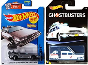 Hot Wheels 2016 HW Screen Time Back to the Future Delorean Time Machine Hover Mode & Exclusive Ghostbusters Ecto-1 2-Car B...