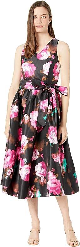 Prined Floral Micado Midi Length Garden Party Dress