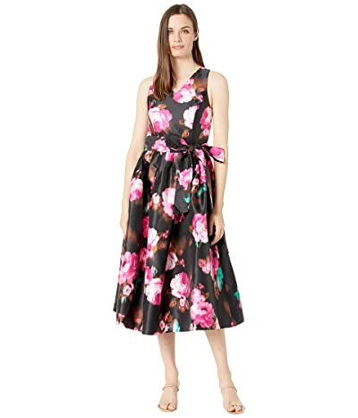Tahari by ASL Prined Floral Micado Midi Length Garden Party Dress Women