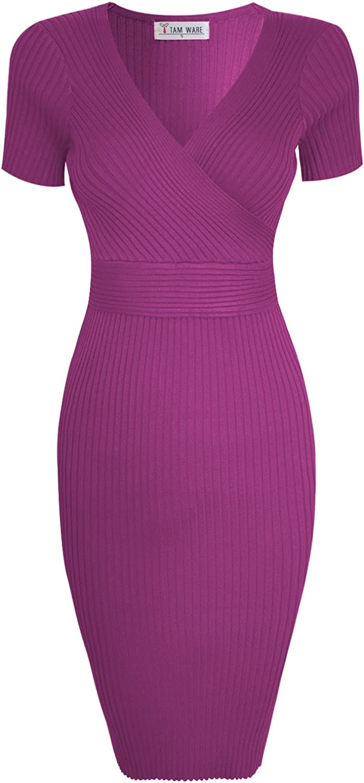 TAM WARE Womens Stylish Surplice Wrap Bodycon Knit Midi Dress TWCWD157D166SPRINGCROCUSUS S