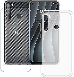 TTJ Genomskinligt skal till HTC Desire 20 Pro HD pansarglas, mobiltelefonfodral silikon skyddande skydd TPU Case mobilväsk...