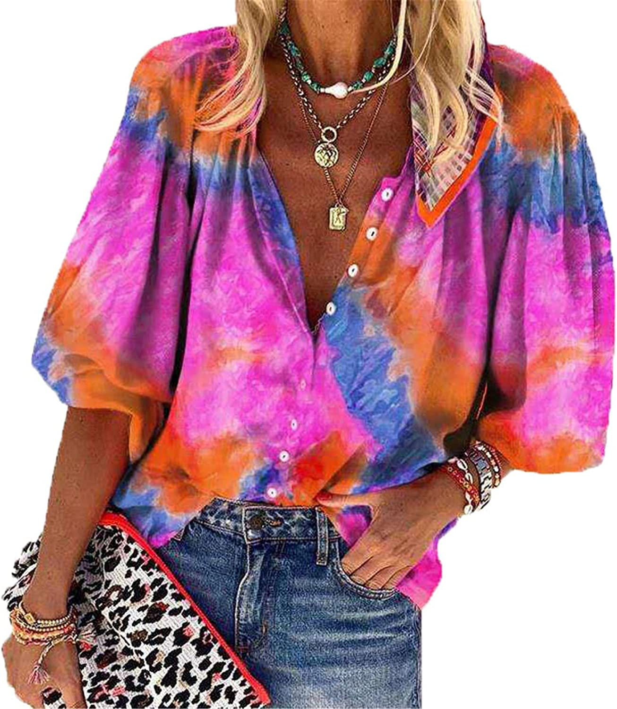 Andongnywell Women's Tie dye Printed V Neck Long Sleeve Shirts Button Down Top Chiffon Shirts Tops Blouse Tunics
