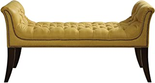 My Swanky Home Long Mustard Yellow Button Tufted Chaise Bench | Nail Head Trim Exposed Wood