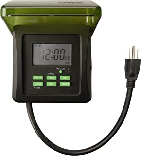 Woods 50015WD Outdoor 7-Day Heavy Duty Digital Plug-in Timer, 2 Grounded Outlets, Weatherproof, Perfect for Automating Hol...