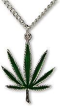 Marijuana Weed Pot Leaf Green Enamel on Silver Finish Pewter Pendant Necklace