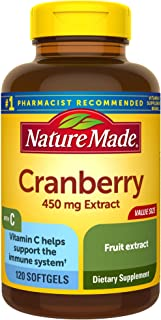Nature Made Cranberry + Vitamin C Softgels, 120 Count Value Size (Packaging May Vary)