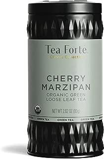 Tea Forte Organic Green Tea, Makes 35-50 Cups, 2.82 Ounce Loose Leaf Tea Canister, Cherry Marzipan