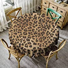 Lauren Russell Fabric Tablecloth Leopard Print Skin Pattern of a Wild Safari Animal Powerful Panthera Big Cat Pale Brown Black Overlay Round Tablecloth Diameter 36