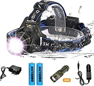 OUTERDO Rechargeable Waterproof Super Bright LED Headlamp, 3 Modes 2000 Lumens LED Headlight with Super Bright Camouflage ...