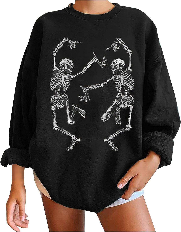 Women's Halloween Sweater Long Sleeve Crew Neck Sweater Sweatshirts Skeleton Sweater Happy Halloween Party Fun Costume