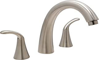 Huntington Brass 14730-72 8-Inch - 16-Inch Builders 2-Handle Deck-Mount Roman Tub Faucet, Satin Nickel