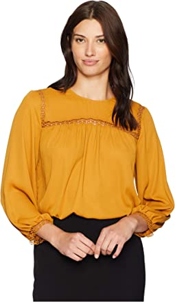 Long Sleeve Solid Blouse with Crochet Neckline