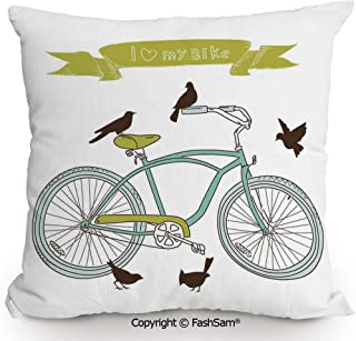 FashSam Polyester Throw Pillow Cushion I Love My Bike Concept with Birds on The Seat Cruisers Basic Vehicle Simplistic Art for Sofa Bedroom Car Decorate(14