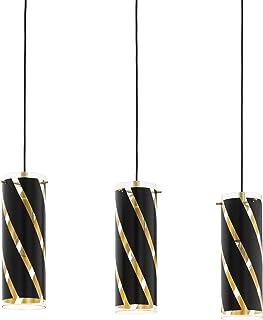 EGLO Lámpara colgante Pinto Nero 1, 3 focos, material: acero, color: dorado, cristal: negro y dorado, casquillo: E27