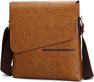 Business Messenger Bag for Men, Work Briefcase Shoulder Bag Made of PU Leather Large Capacity Waterproof,Orange