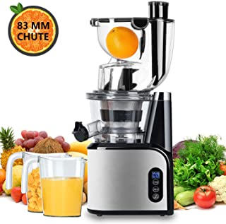 Aobosi Slow Masticating Juicer 83mm(3.15inch) Wide Chute Juice Extractor Cold Press Juicer Machine with Quiet Motor/Reverse Function/Juice Jug and Clean Brush for High Nutrient Fruit & Vegetable Juice