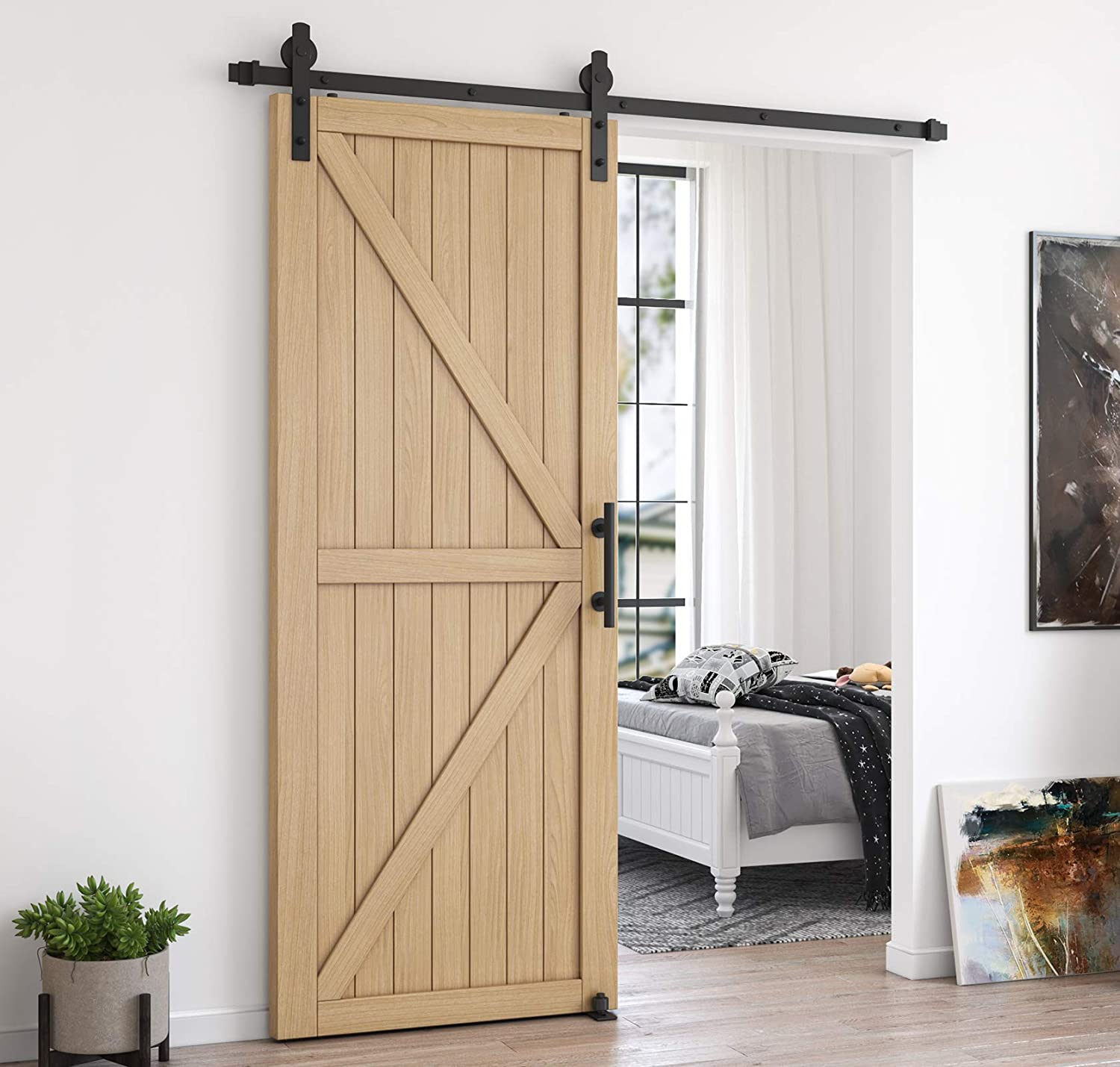 Black Fit 1 3//8-1 3//4 Thickness /& 36 Wide Door Panel Homlux 6ft Heavy Duty Sturdy Sliding Barn Door Hardware Kit Single Door-Smoothly and Quietly Easy to Install and Reusable I Shape Hanger