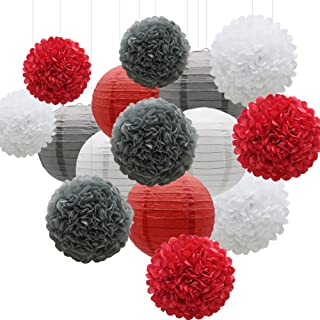 KAXIXI Hanging Party Decorations Set, 15pcs Red Gray White Paper Flowers Pom Poms Balls and Paper Lanterns for Wedding Birthday Bridal Baby Shower Graduation