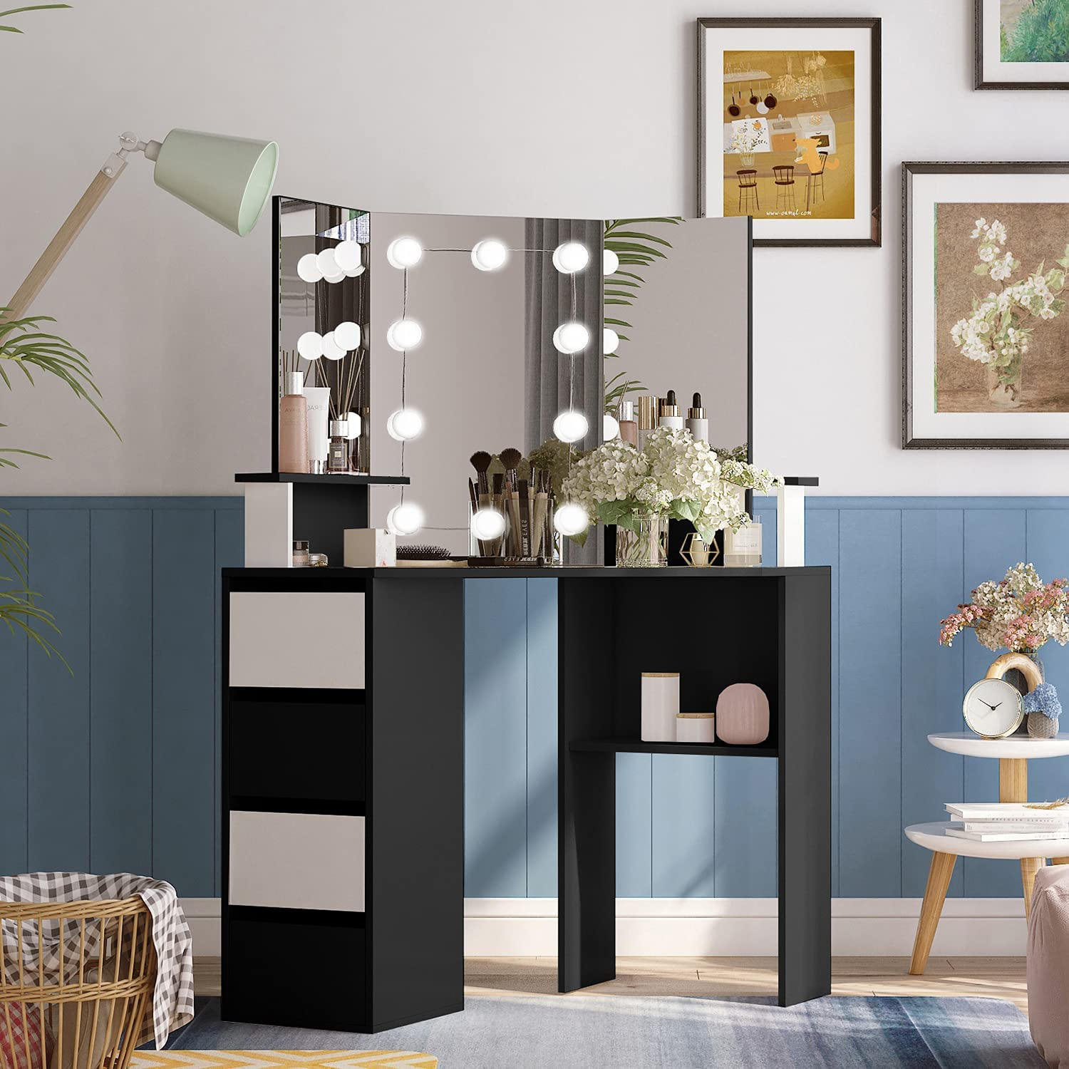 Corner Vanity Table Set with Three-Fold Mirror, Makeup Desk with 4 Storage Shelves, Dressing Table with 10 Lights for Women, Dresser Desk Vanity Set for Small Spaces, Bedroom, Girl White and Black