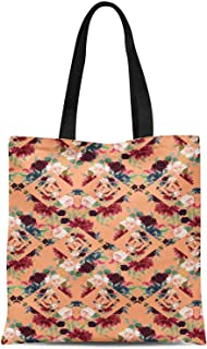 S4Sassy Green Geometric Shapes & Baccara Rose Floral Print Canvas Shopping Tote Bag Carrying Handbag Casual Shoulder Bag 16x12 Inches