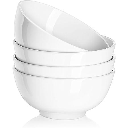DOWAN Ceramic Soup Bowls, Cereal Bowl, 22 Ounce Bowls Set, Chip Resistant, Dishwasher & Microwave Safe, Porcelain Bowls for Kitchen, White Bowls for Cereal Soup Rice Pasta Salad Oatmeal, Set of 4