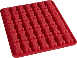 Mrs. Anderson's Baking 43862 Dog Biscuit Mold, Makes 35 Treats, Non-Stick European-Grade Silicone, Red