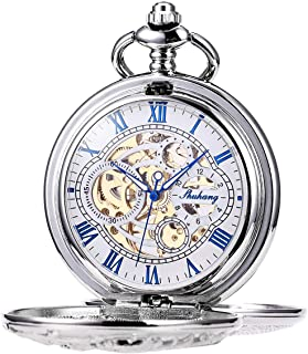 ManChDa Mens Antique Skeleton Mechanical Pocket Watch Dragon Hollow Hunter with Chain and Box