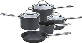Anolon Batería de Cocina Profesional anodizada con cazo para Leche, cacerolas y sartén, Color Negro, Aluminio Duro anodizado, Negro, Set of 5