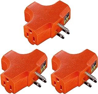 Uninex PS37U T-Shape 3-Outlet Adapter, Heavy Duty, UL Listed, Orange, 3-Pack