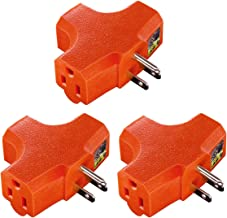 Uninex PS37U T-Shape 3-Outlet Adapter, Heavy Duty, UL Listed, Orange, 3-Pack