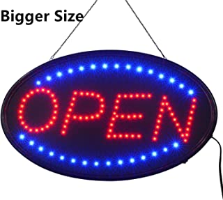 LED Open Sign,23x14inch Larger LED Business Sign,Advertisement Display Board Flashing & Steady Light Open Sign for Business, Walls, Window, Shop, Bar, Hotel