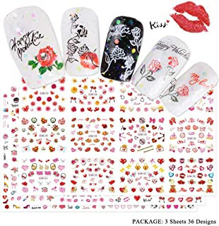 Lookathot 3Sheets/36Styles Valentine's Nail Art Stickers Decals Love Heart Rose Lipstick Red Lips High Heels Design Pattern Water Sky Star Foil Paper Printing Transfer DIY Decoration Tools Accessories