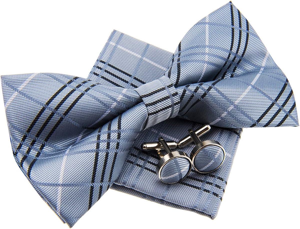 Tartan Plaid Check Styles Woven Pre-tied Bow Tie (5