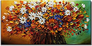 Yotree Paintings, 24x48 Inch Paintings Brilliant Flowers Oil Hand Painting Painting 3D Hand-Painted On Canvas Abstract Artwork Art Wood Inside Framed Hanging Wall Decoration Abstract Painting