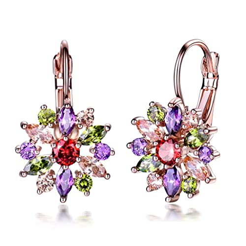 2fef4f596 GULICX Colored Hoop Earrings Rose Gold Tone Flower Marquise Round Cluster Multicolor  Cubic zirconia