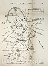 Historic 1910 Map - The American Civil War-maps. - Battle of Nashville 1 33in x 44in