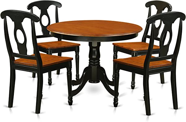East West Furniture HLKE5 BCH W 5Piece Hartland Set With One Round 36in Dinette Table Four Kitchen Chairs With Wood Seat In A Spectacular Black Cherry Finish