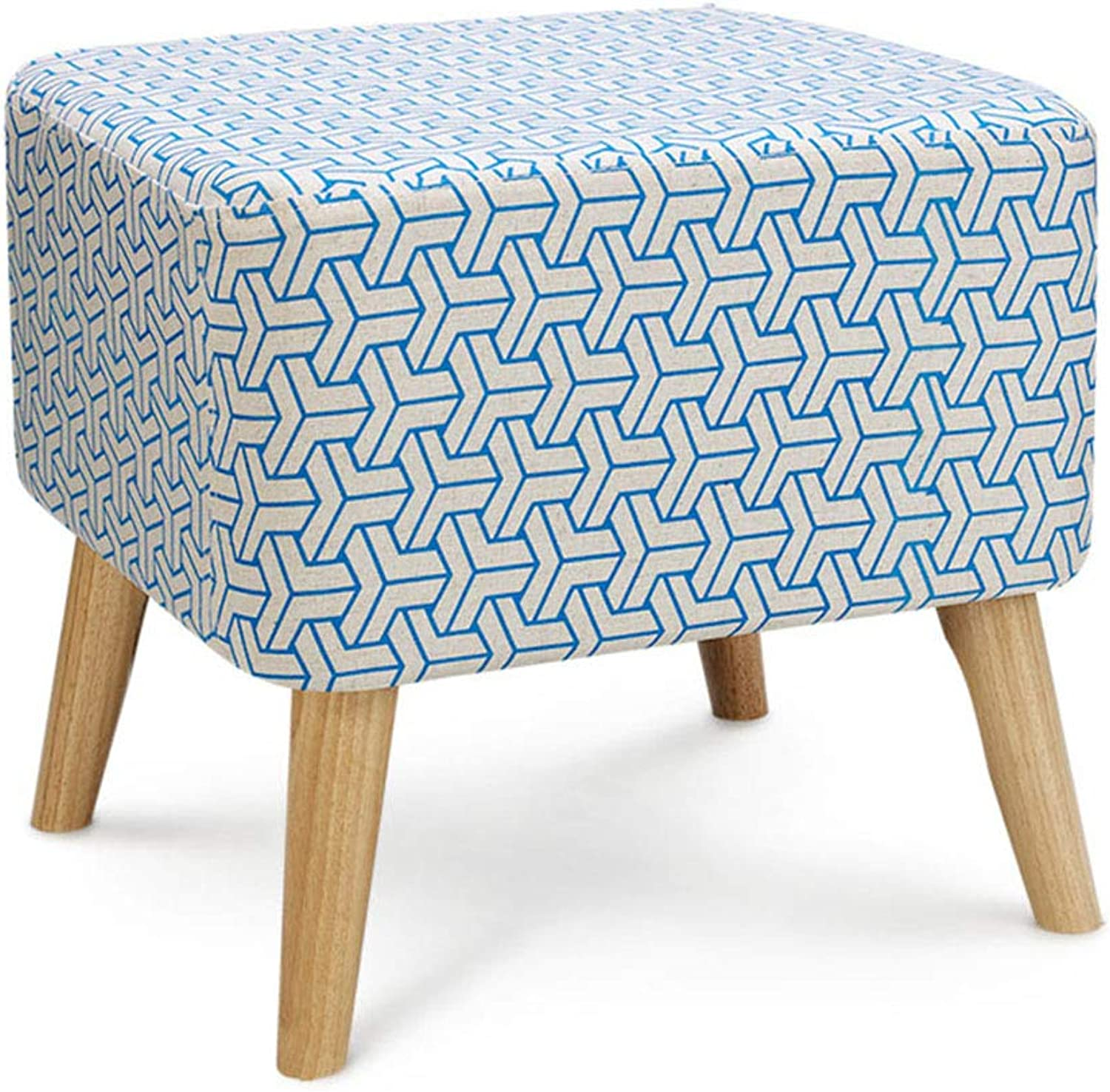 Stool Nordic Wood Retro Fabric Change shoes Sofa Bench Bed End Stool (color   B, Size   40x40cm)