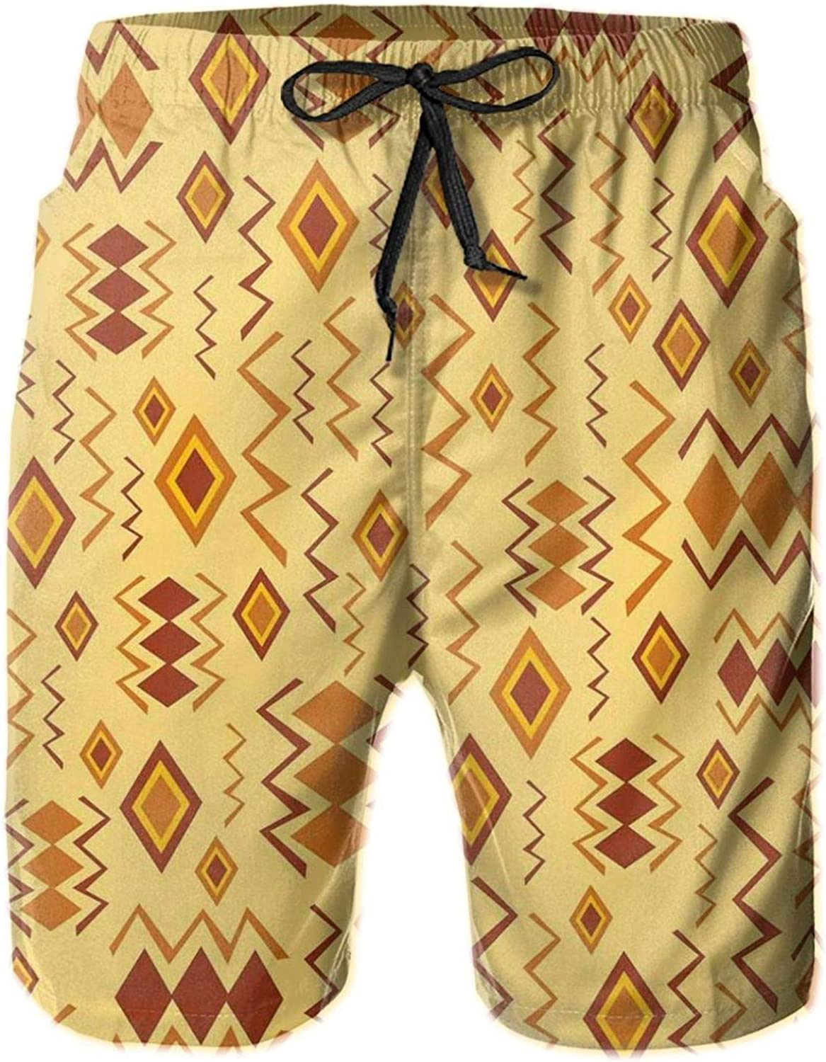 African Art with Ethnic Quirky Forms Abstract Cultural Icons Tribal Design Mens Swim Trucks Shorts with Mesh Lining,M
