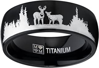 Men's Black Outdoor Hunting Titanium Ring Wedding Band with Laser Etched Deer Stag Scene 8mm