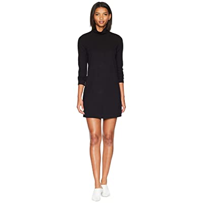 kensie Sweater Like Rib Dress with Turtleneck KS0K8308 (Black) Women