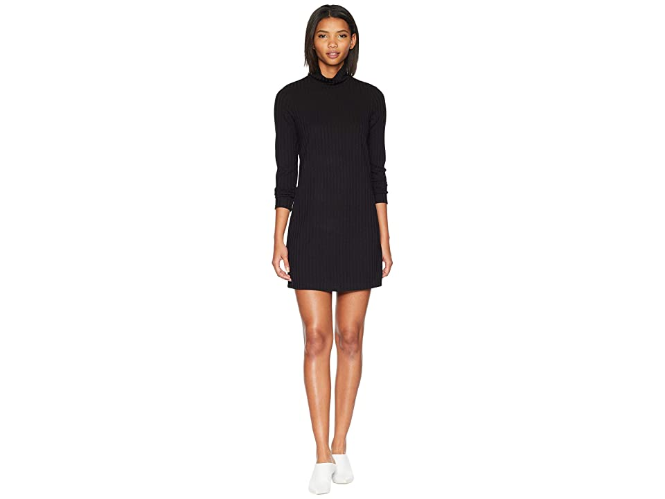 kensie Sweater Like Rib Dress with Turtleneck KS0K8308 (Black) Women