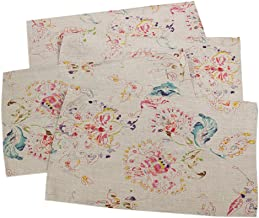 Fennco Styles Primavera Collection Printed Floral Design 100% Linen Table Placemat (Natural, 14x20 Placemat - Set of 4)